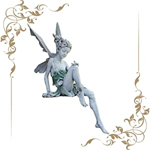 CHAOMIC Sitting Fairy Statue for Garden Tudor and Turek Sitting Fairy Statue Resin Craft Landscaping Yard Decoration Fairy Figurines Gift for Home Office Desk Table (White)