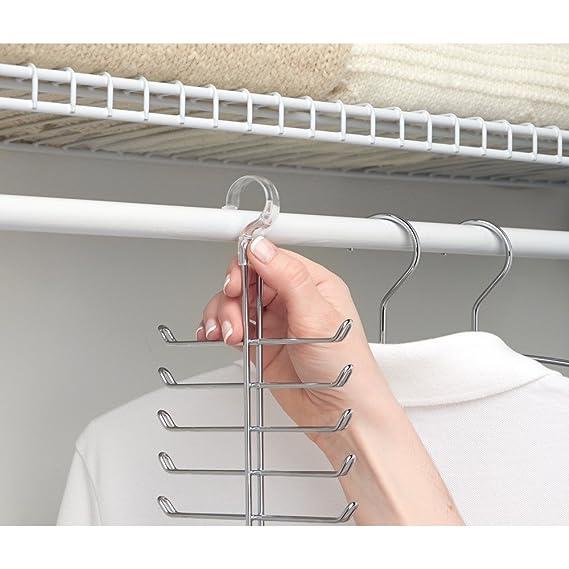 InterDesign Perchero Vertical para Corbatas/Cinturones, Color Cromo y Claro