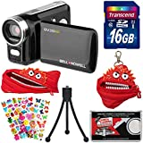 Bell & Howell DV200HD HD Video Camera Camcorder with Built-in Video Light with 16GB Card + Monstar Case & Pouch + Stickers + Tripod Kit