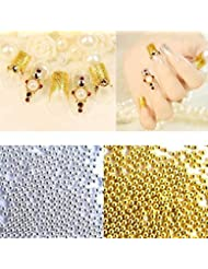 Binmer(TM) 50g Gold Silver Caviar Micro Beads Fish Egg Manicure Ball 3D Nail Art Decoration (Gold)