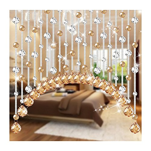 WUFENG-Curtains Bead Curtain Arc Crystal European Style Feng Shui Hanging Curtain Bead Punch Free Indoor Can Be Customized (Color : B, Size : 80x65cm-20 Roots)