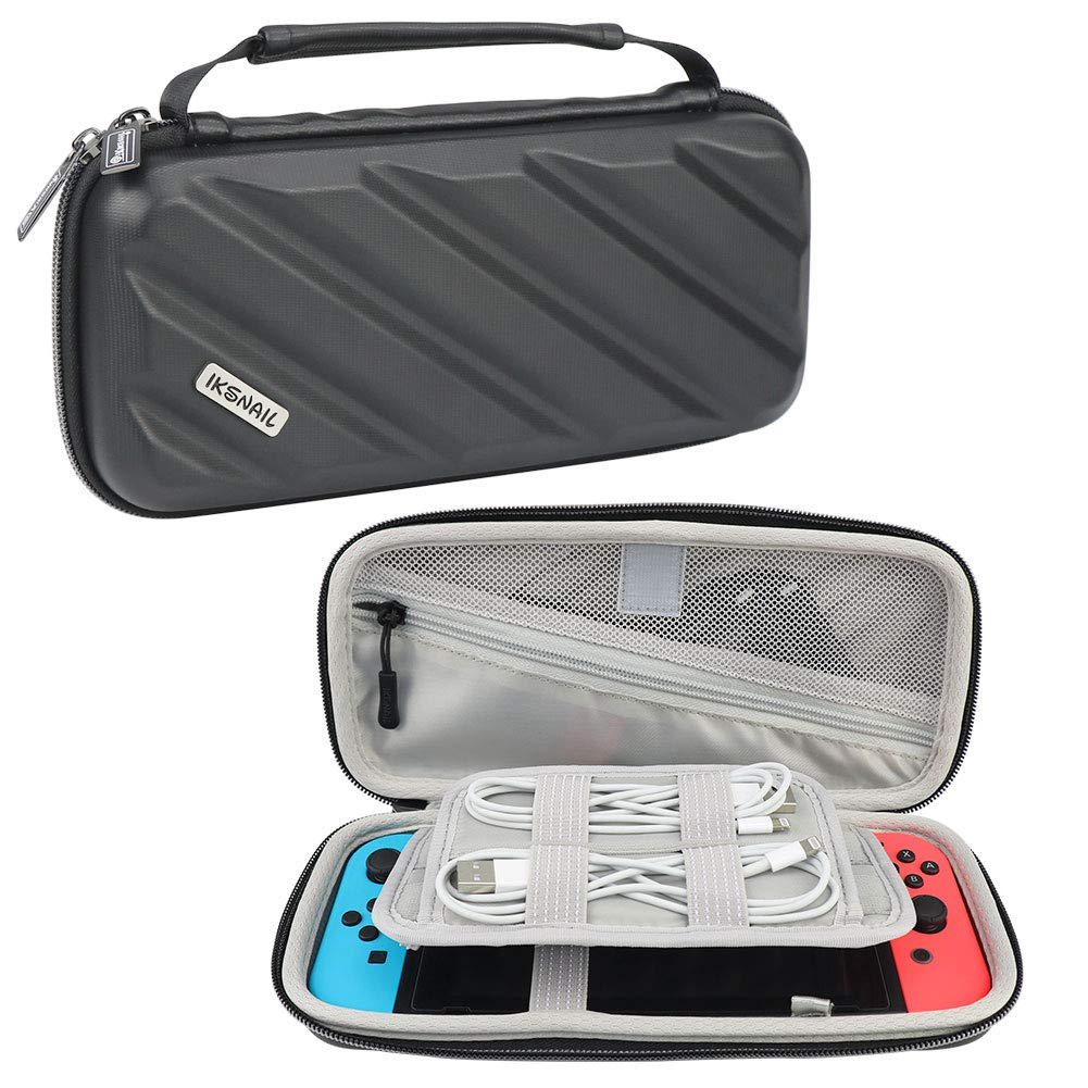 Iksnail Carry Case for Nintendo Switch - BLACK Portable Traveler Protective Cover Storage Carrying Bag Pouch with 18 Game Card Slots and Inner Pocket for Nintendo Switch Console Joy-Con