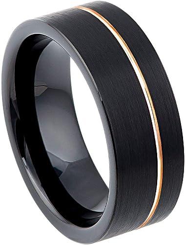 Men Or Ladies Tungsten carbide Rose Gold Brushed Center Wedding Band Ring SET