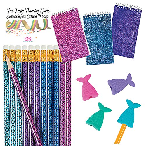 Stuffer Wirebound Notebook - Magical Mermaid Favor Bundle for 24 | Glitter Notepads, Mermaid Scale Pencils in Shiny Foil & Mermaid Tail Eraser Toppers | 72 Total Pieces for Birthday, Shower, Pool or Beach Party