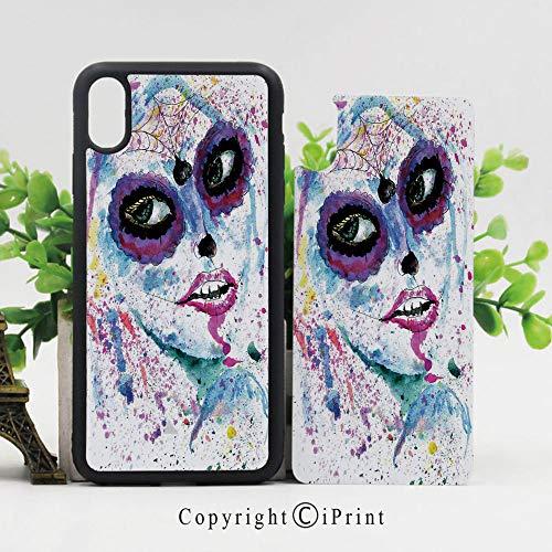 iPhone x Case,Grunge Halloween Lady with Sugar Skull