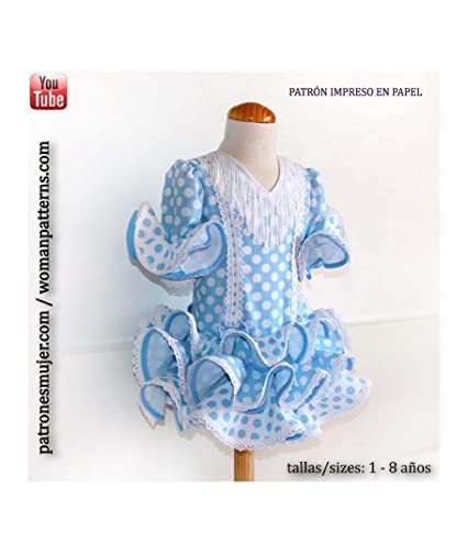 Patrón de costura vestido niña flamenca, estilo marisol, con vídeo-tutorial para realizarlo