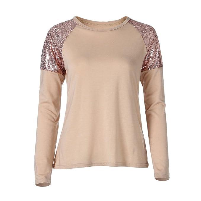Hoplsen Moda Lentejuelas Mujeres Tops Tapas Manga larga Camiseta O-neck Casual Algodón Jersey Camiseta