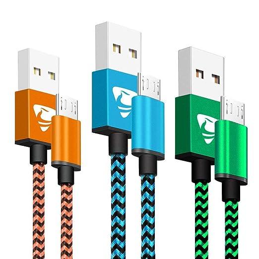 Aione Cable Micro USB Carga Rápida 2m, Sincro y Carga USB Compatible con Dispositivos Android, Samsung Galaxy, TCL, Sony, Nexus y Más, 3-Unidades, ...
