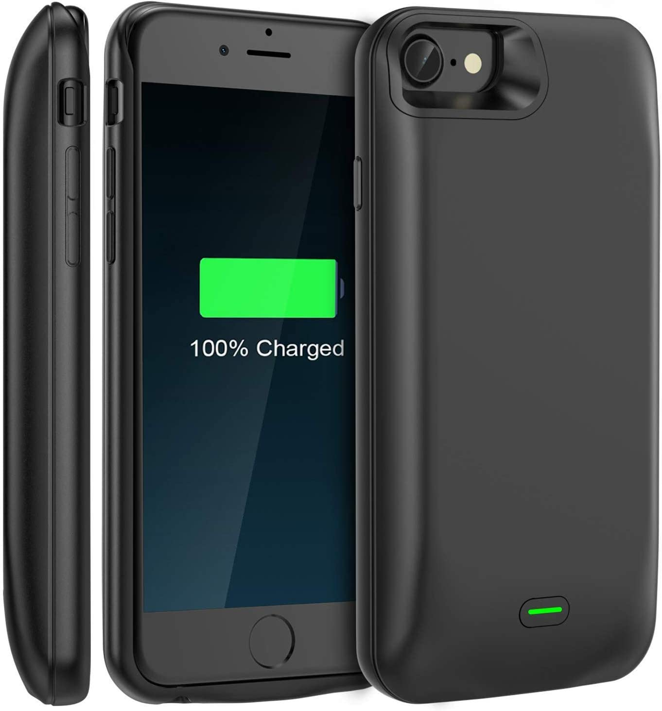Battery Case, Available for 4.7'' iPhone 6/6s/7/8, LoHi 5200mAh Ultra Slim Extended Battery Rechargeable Protective Portable Charger Support Headphones (Black)