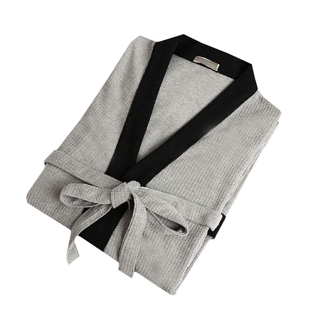 Lutratocro Men Bathrobe Relaxed Fit Belted Color Block Spa Homewear Waffle Robe