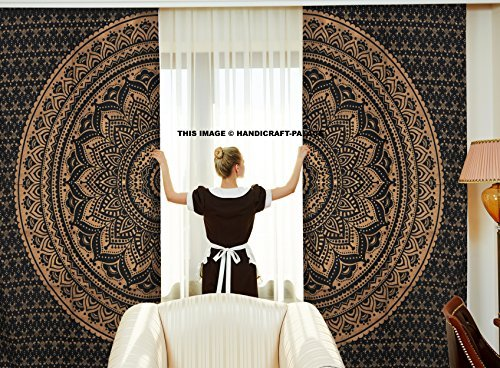 Handicraft-Palace Curtains Ethnic Black Gold Ombre Mandala D