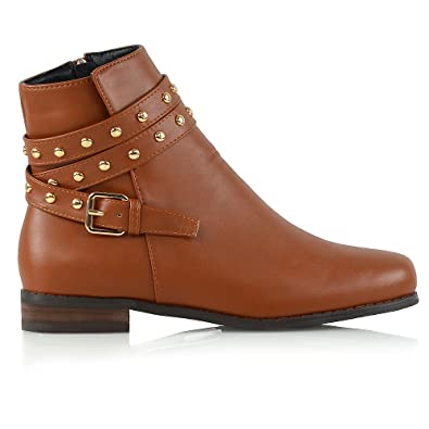 d66f7b9a6df79 ESSEX GLAM New Womens Ankle Boots Studded Straps Zip Ladies Flat Heel  Chelsea Pixie Booties