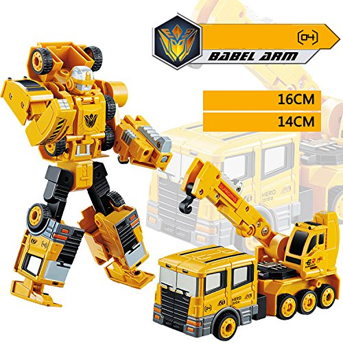 (Transformer Robot Car Metal Alloy Engineering Construction Vehicle Truck Assembly Deformation Toy 5 in 1 Robot Kid Toys Gifts (04))
