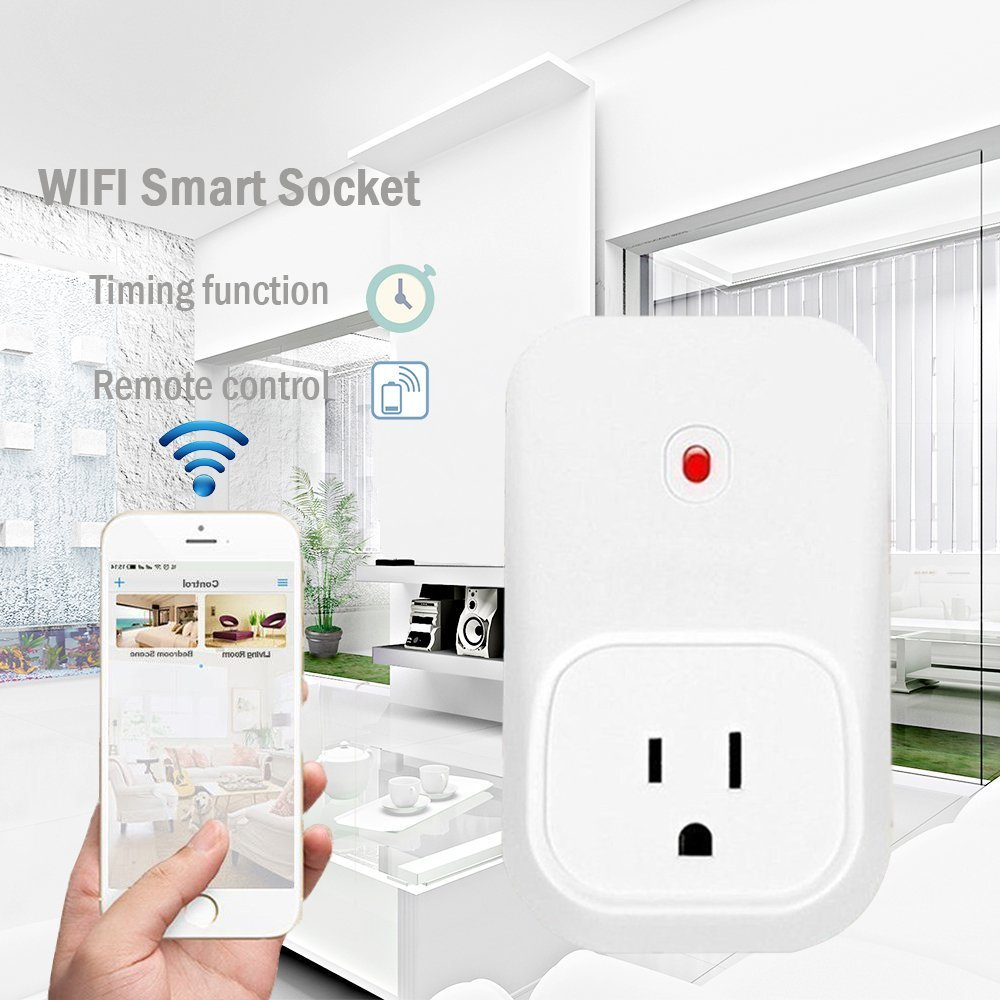 WiFi Smart Plug,WiFi Remote Control Electrical Outlet Wireless Switch Smart Socket Timer Light Switch for iPhone/Phone/iPad Turn ON/OFF Electronics from Anywhere with Free APP