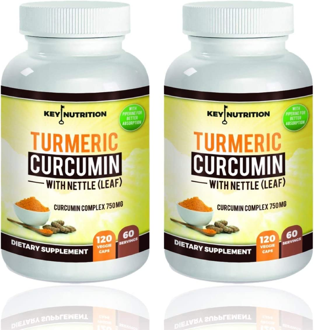 Turmeric Curcumin 1500mg 120 Veggie Capsules- with Piperine Black Pepper Extract Pack of 2 Bottles