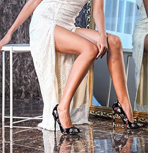 35 Tamaño Primavera 5 Zapatillas Verano Negro Mujeres Elegante EUR42UK85 Zapatos Club Corte pie 3 Tacón Alto Puntiagudo Nocturno 36 NVXIE Ante 42 Boda del EUR BLACK 4 Dedo Estilete UK F8wHExEqR