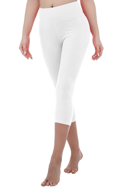 RIKKI Women's High Waist Yoga Capris Pants Active Running Workout Leggings (White, S)