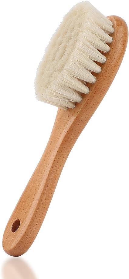 Brosse cheveux bebe l/éger confortable doux cheveux naturels brosse /à poils de bois de ch/èvre b/éb/é t/ête de nourrisson massage peigne de toilettage avec manche