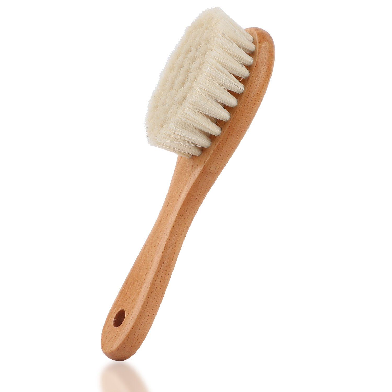 Baby-Haarbürste mit Holzgriff und superweichen Borsten Natur-Pur (Braun) Oudrlim
