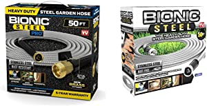 Bionic Steel 2428 PRO Hose-304 Stainless Steel Metal 50 Foot Garden Hose – Kink-Free and Stronger Than Ever with Brass Fittings, 50' & 50 Foot Garden Hose 304 Stainless Steel Metal Water Hose
