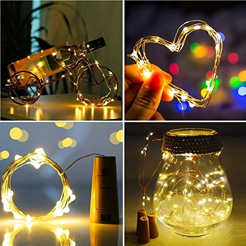 LiyuanQ 20 LED Wine Bottle Cork Lights Copper Wire String Lights, 8 Pack 2M/7.2FT Battery Operated Wine Bottle Fairy Lights Bottle DIY, Christmas, Wedding Party Décor Warm White (Bottle not Included)