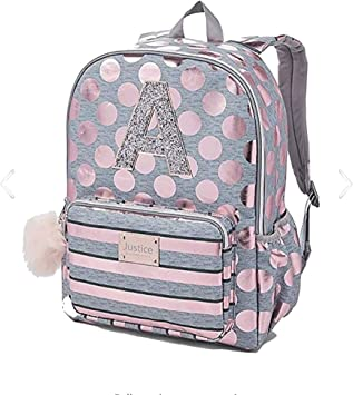 Amazon Com Justice Girls Rose Gold Foil Initial Backpack Gold N