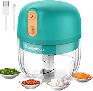 Electric Mini Garlic Chopper, Demienmoon Cordless Mini Food Chopper, Food Processor Mini Chopper with USB Charging and Powerful Cutting Used for Garlic Onion Ginger Pepper Spice