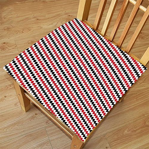 Nalahome Set of 2 Waterproof Cozy Seat Protector Cushion Red and Black Hypnotising Vintage Zigzag Chevron Wave Seem Retro Border Like Image Ruby and White Printing Size 22x22inch