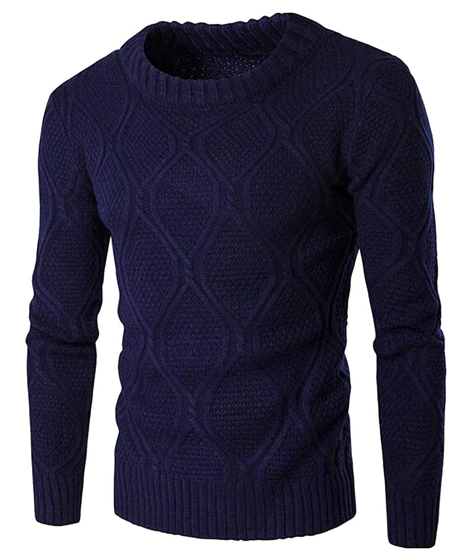 Etecredpow Mens Pullover Knitwear Casual Thick Round Neck Jumper Sweaters