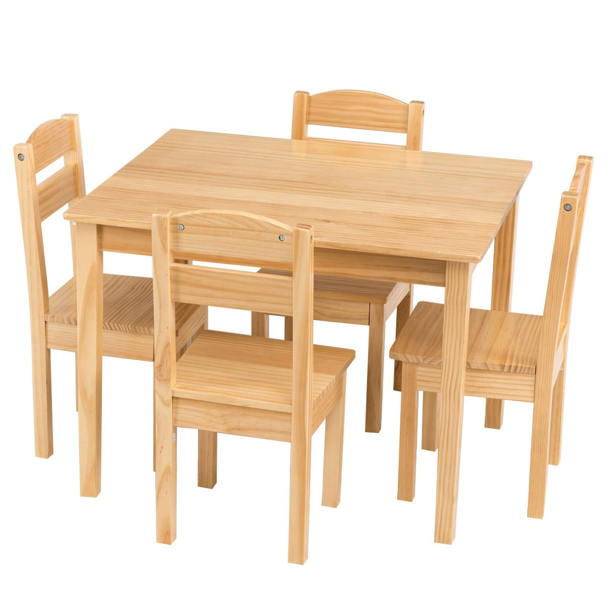 Amazon Com Costzon Kids Wooden Table And 4 Chairs Set 5 Pieces Set