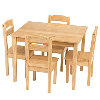 Bon Costzon Kids Wooden Table And Chairs, 5 Pieces Set Includes 4 Chairs And 1  Activity