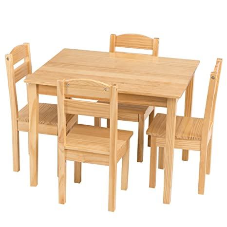 Amazon.com: Kids 5 Pcs. Table Chair Set Pine Wood Children Play Room ...
