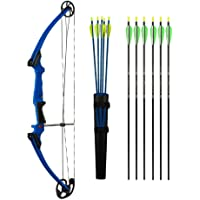 Genesis Bows Original Bow Upgraded Kit with Arm Guard, Quiver, and 11 Arrows (Right Hand, Blue) | for Beginner and Intermediate Archers of All Ages | Adjustable Draw Weight