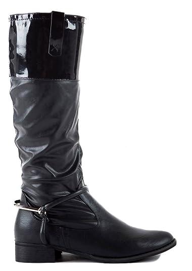 53102d4cd6c Ladies Womens Winter Biker Riding Style Knee Low Heel Calf High Knee Boots  Size 3 - 8 new
