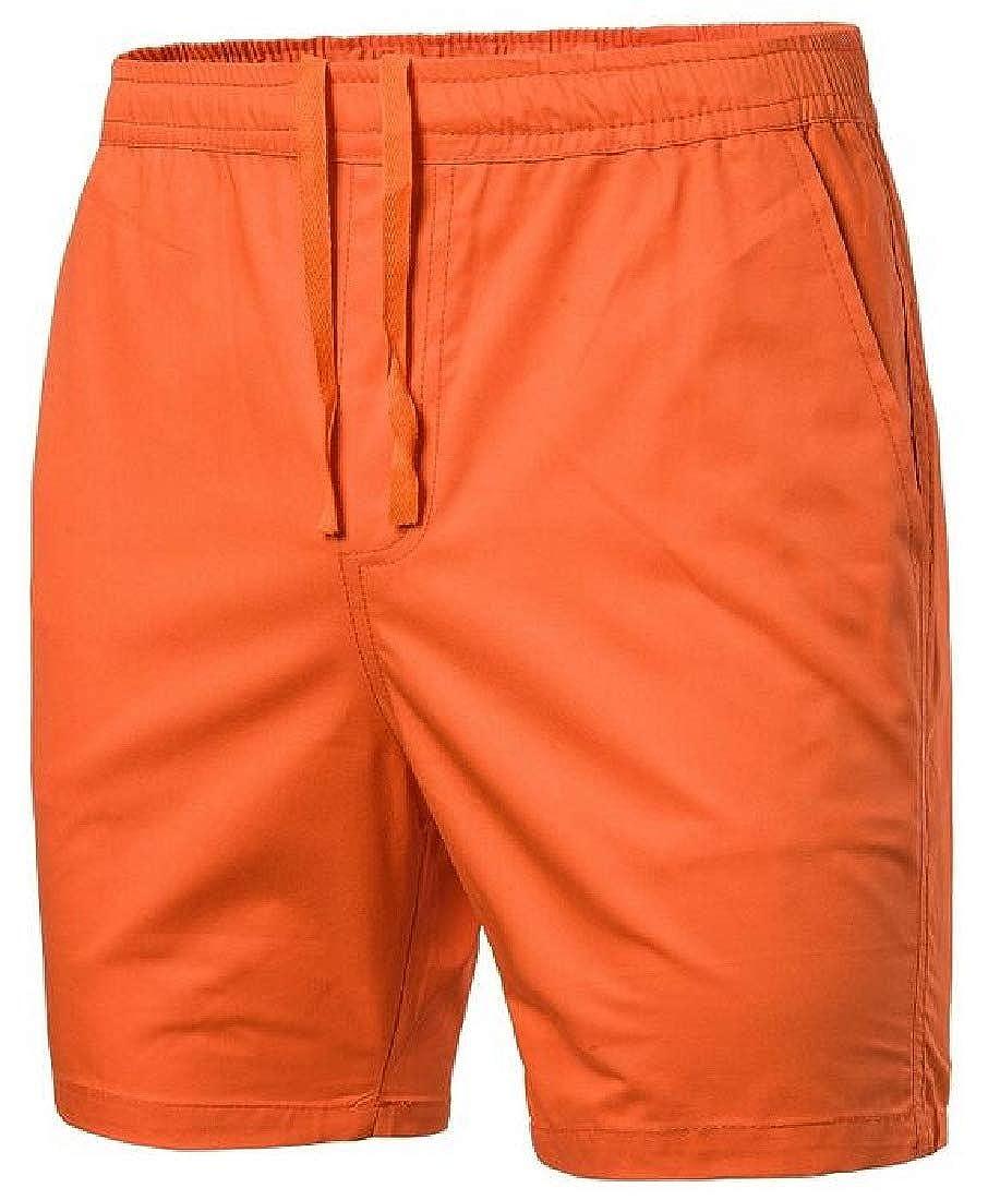 Zantt Men Plain Elastic Waist Slim Summer Boarshorts Beach Shorts Swim Trunk