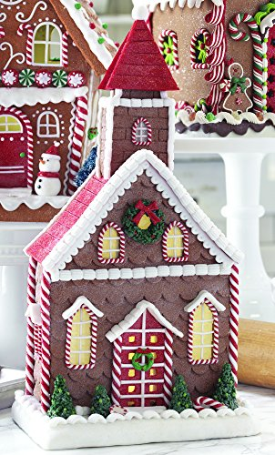 14.5 Inch Lighted Gingerbread Church Holiday Decoration