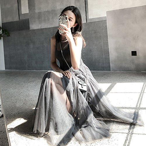 Gris En hilado Xuanytp Femenina vestido Gasa Vacaciones Temperamento vestido Sección Falda traje Larga Vestido De La Temperamento Playa 8U7T8r