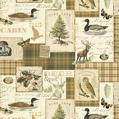 Rustic Wildlife Cotton Fabric by The Yard (The Yard Fabric Rustic By)