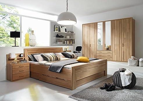 Schlafzimmer in Erle natur teilmassiv, Kleiderschrank Breite 282 ...