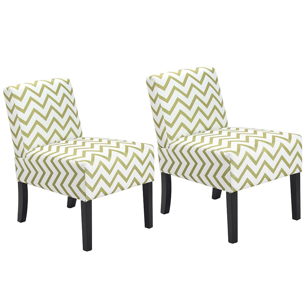 Amazon.com: BestMassage Wave Patterned Fabric Accent Chair, Dining Side  Sofa Chairs Set Of 2: Kitchen U0026 Dining
