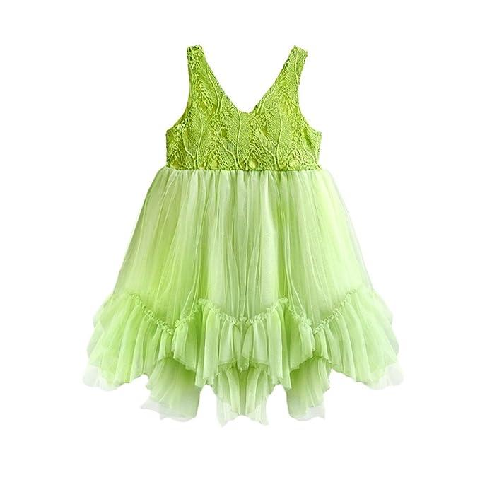 Amazon.com: Vestido de niña de flores de encaje bebé niña ...