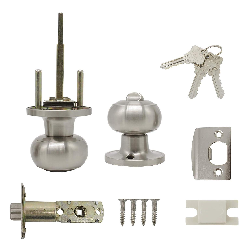 Probrico DL609SN Poign/ée de porte//poign/ée de porte dentr/ée//poign/ée avec verrou ronde s/écuris/ée en acier inoxydable