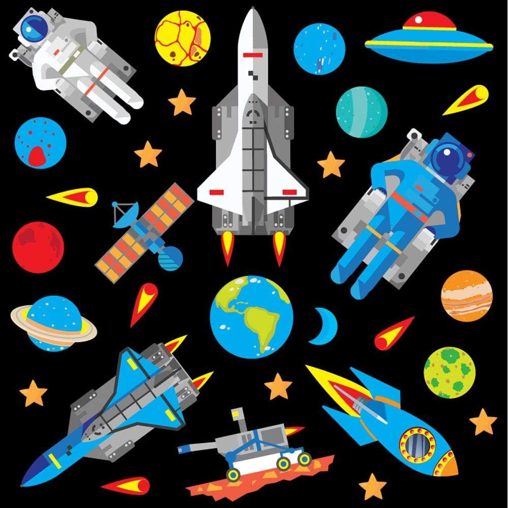 GET STICKING DECOR® Espacio Pegatinas De Pared & Cohete Calcomanías Colección, Deep Blue Rock.4, Vinilo Removible Brillante, Multi Color. (Medium): Amazon.es: Bricolaje y herramientas