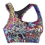 Lotsyle Women's Floral Seamless Racerback Mesh Splicing Yoga Sports Bra Workout Tank Top Floral-XS