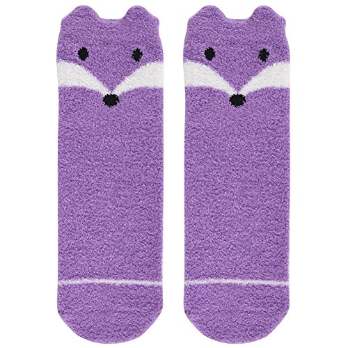 Super Soft Sock Yarn (Casual Socks Cute,Womens Girls Purple Fox Design Super Soft Feather Yarn Fuzzy Warm Slipper Socks with Grips Vive Bears 1 Pair)