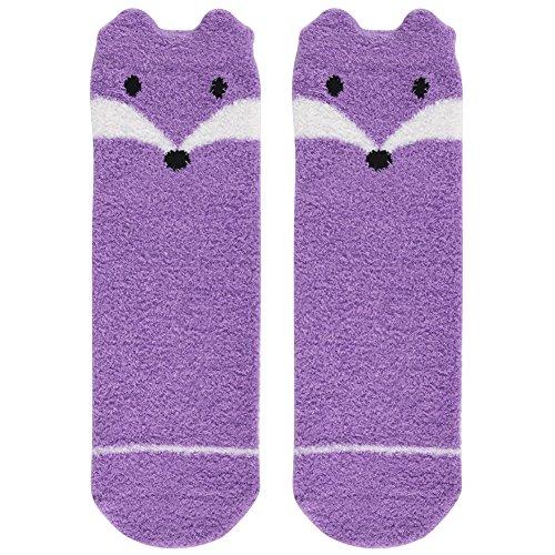 Vive Bears Casual Socks Cute,Womens Girls Purple Fox Design Super Soft Feather Yarn Fuzzy Warm Slipper Socks with Grips 1 Pair (Casual Cartoon Pattern)