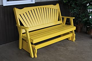 product image for Classic Outdoor 5 Foot Fanback Porch Glider - Painted- Amish Made USA -Canary Yellow