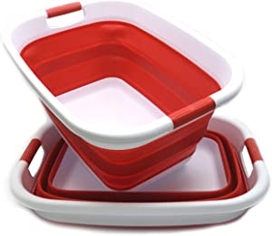SAMMART Set of 2 Collapsible Plastic Laundry Basket - Foldable Pop Up Storage Container/Organizer - Portable Washing Tub - Space Saving Hamper/Basket (2, Red)