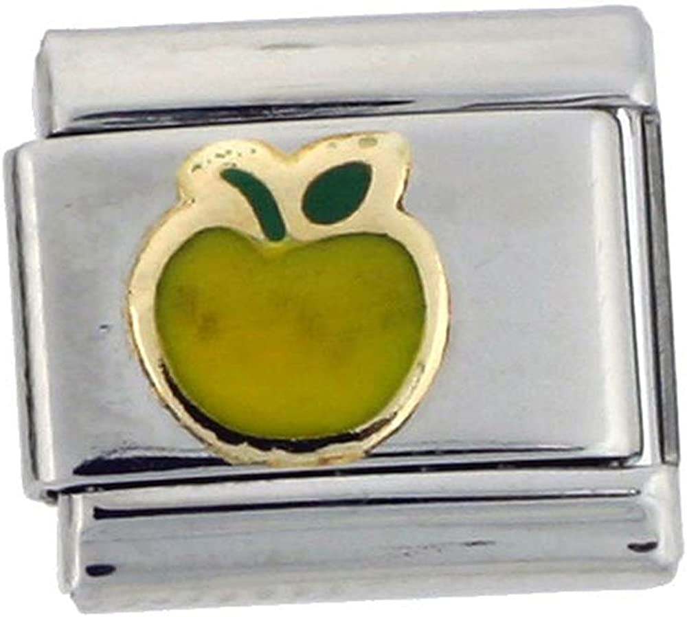 Sabrina Silver Stainless Steel 18k Gold Apple Charm for Italian Charm Bracelets