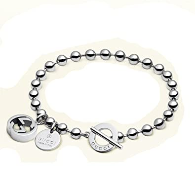 11801db03 GUCCI Boule chain and charms sterling silver bracelet YBA3915620018: Amazon. co.uk: Jewellery